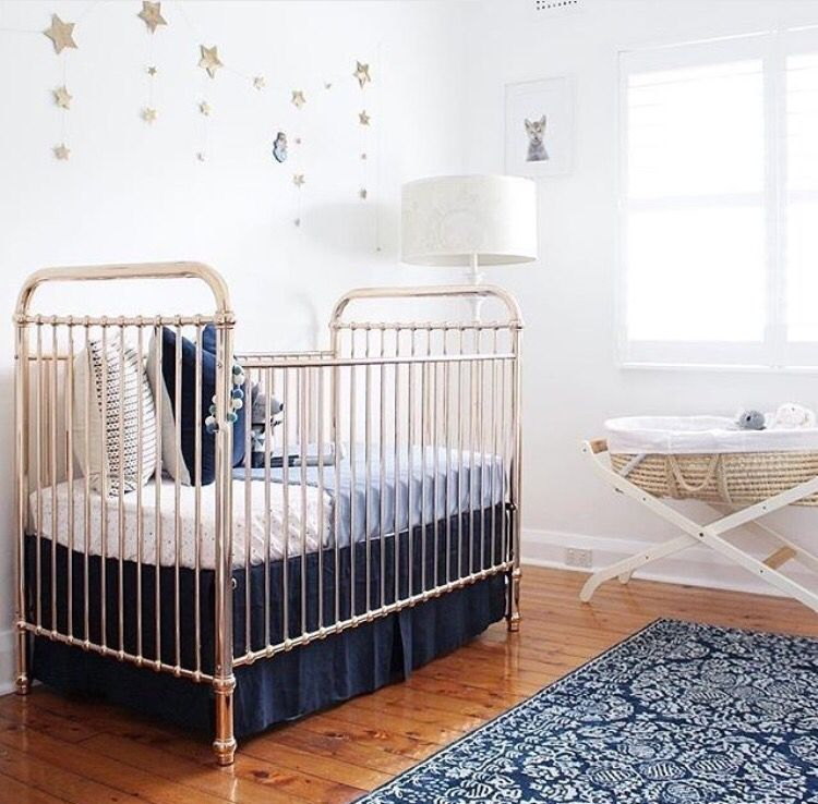 blue and cream nursery cot