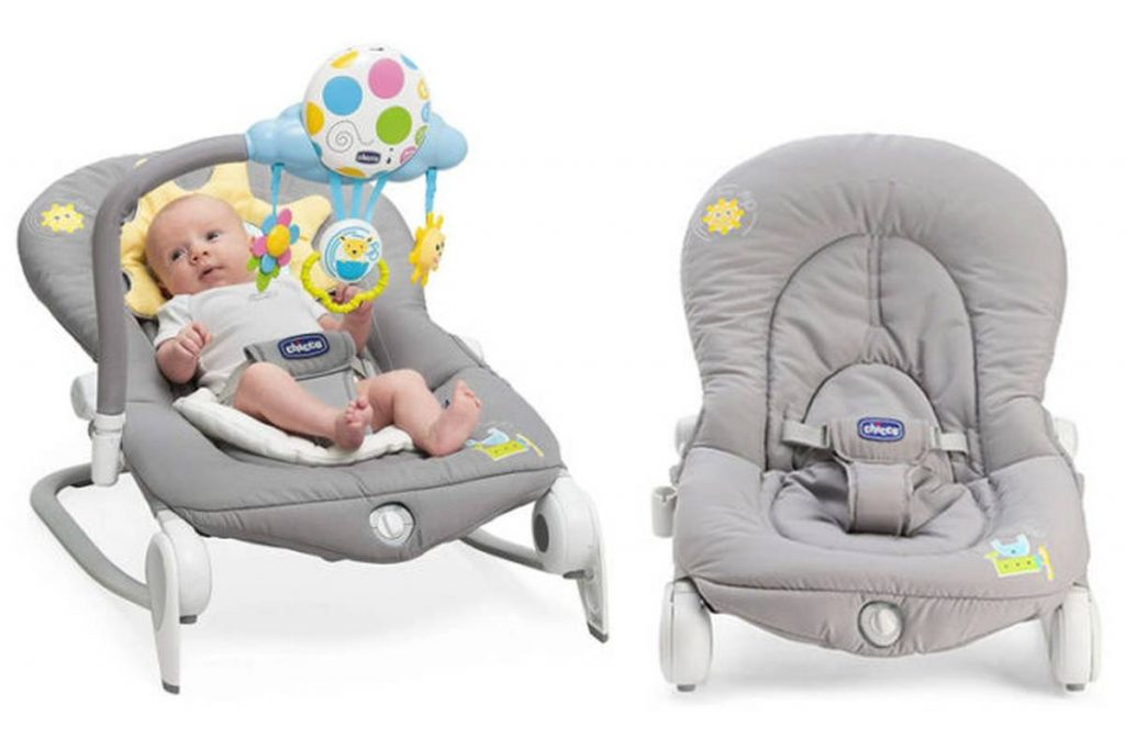 grey baby bouncer with baby and mobile