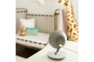 baby monitor pointing at crib