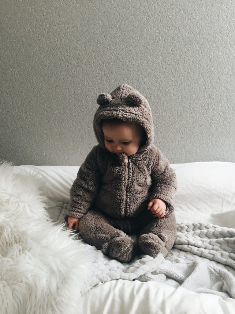 baby wearing pyjamas