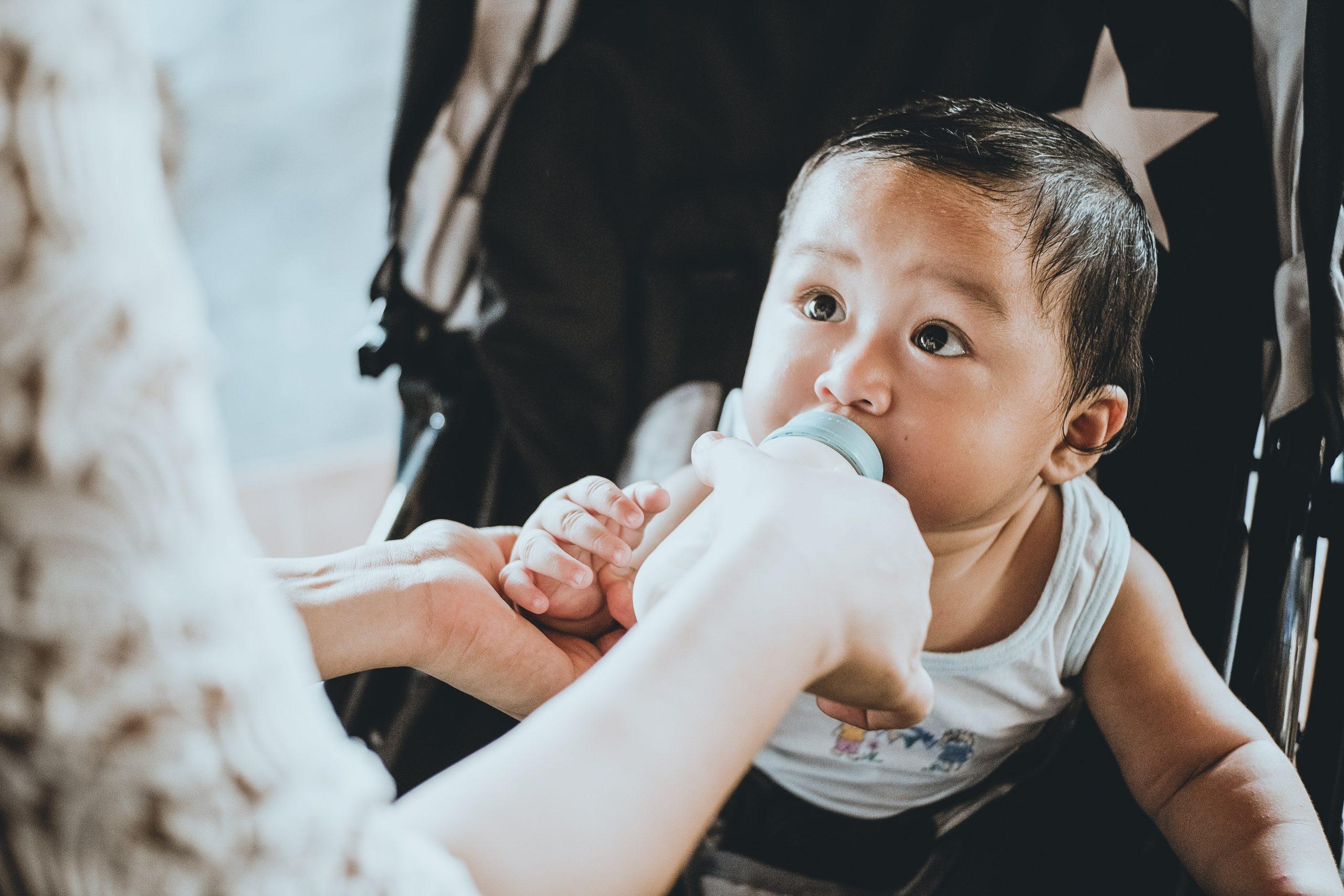 feeding baby milk