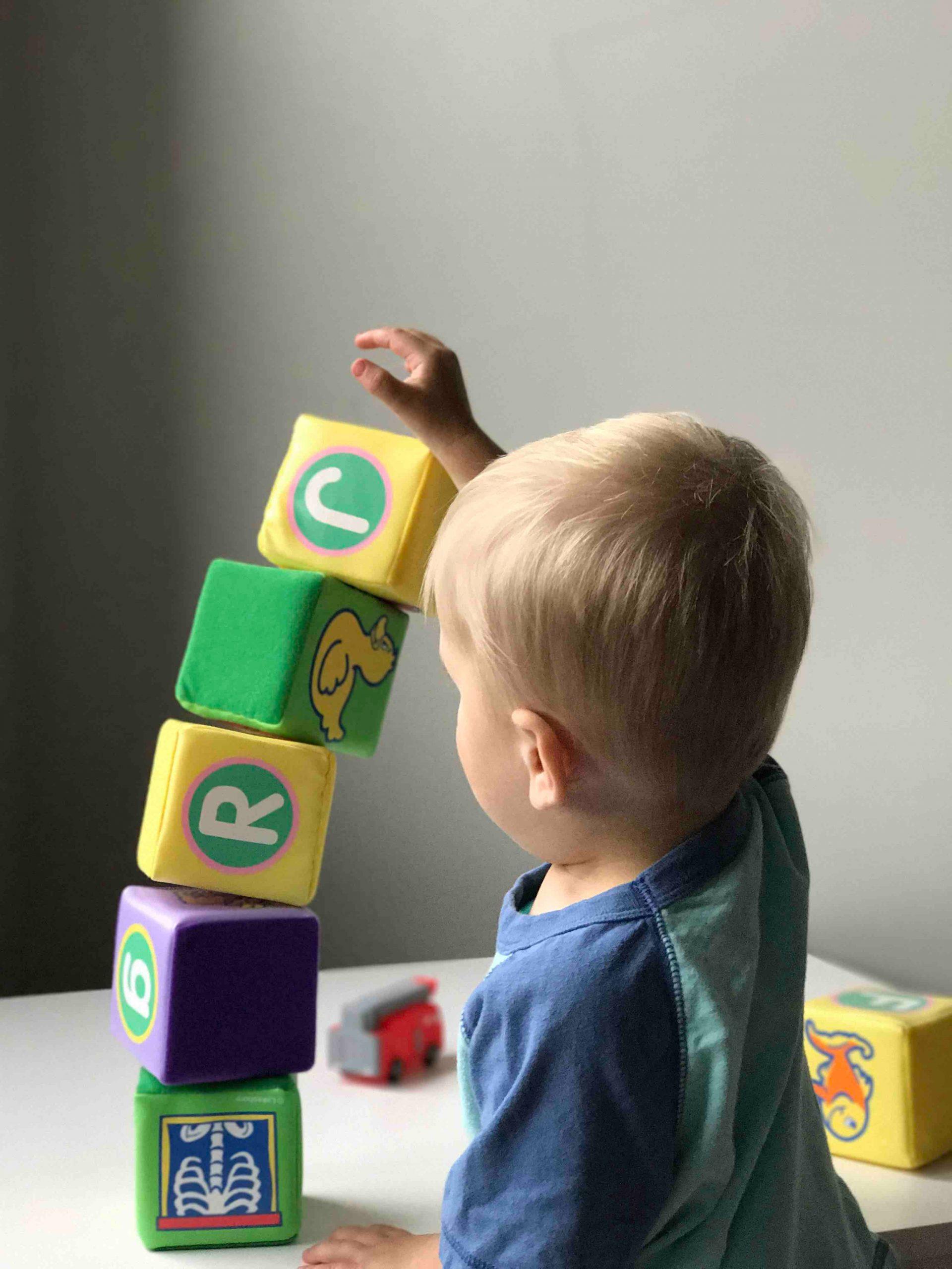 baby playing blocks