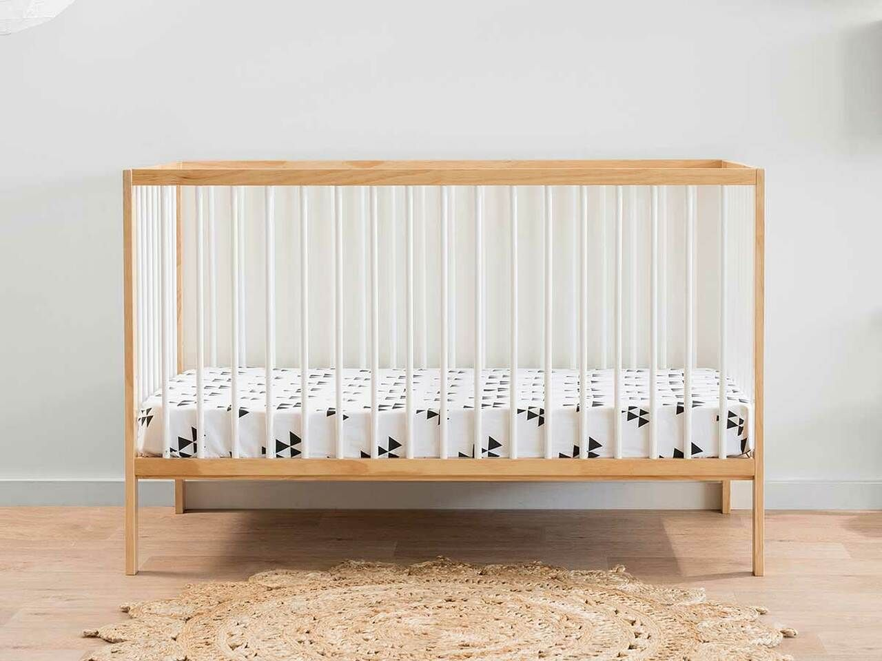mocka darby cot with mattress in baby nursery