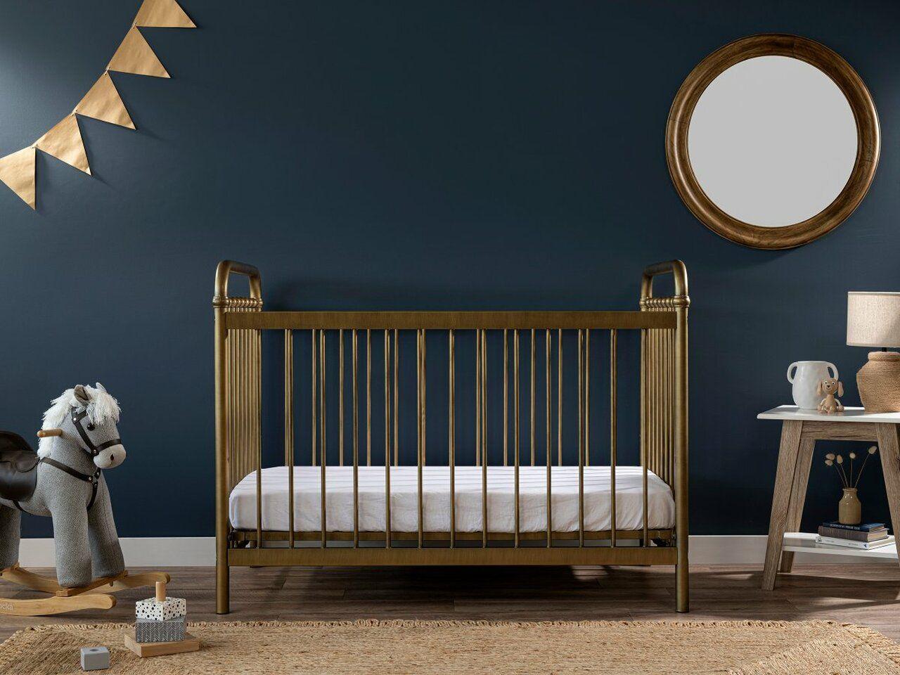 mocka sonata brass baby furniture cot in nursery