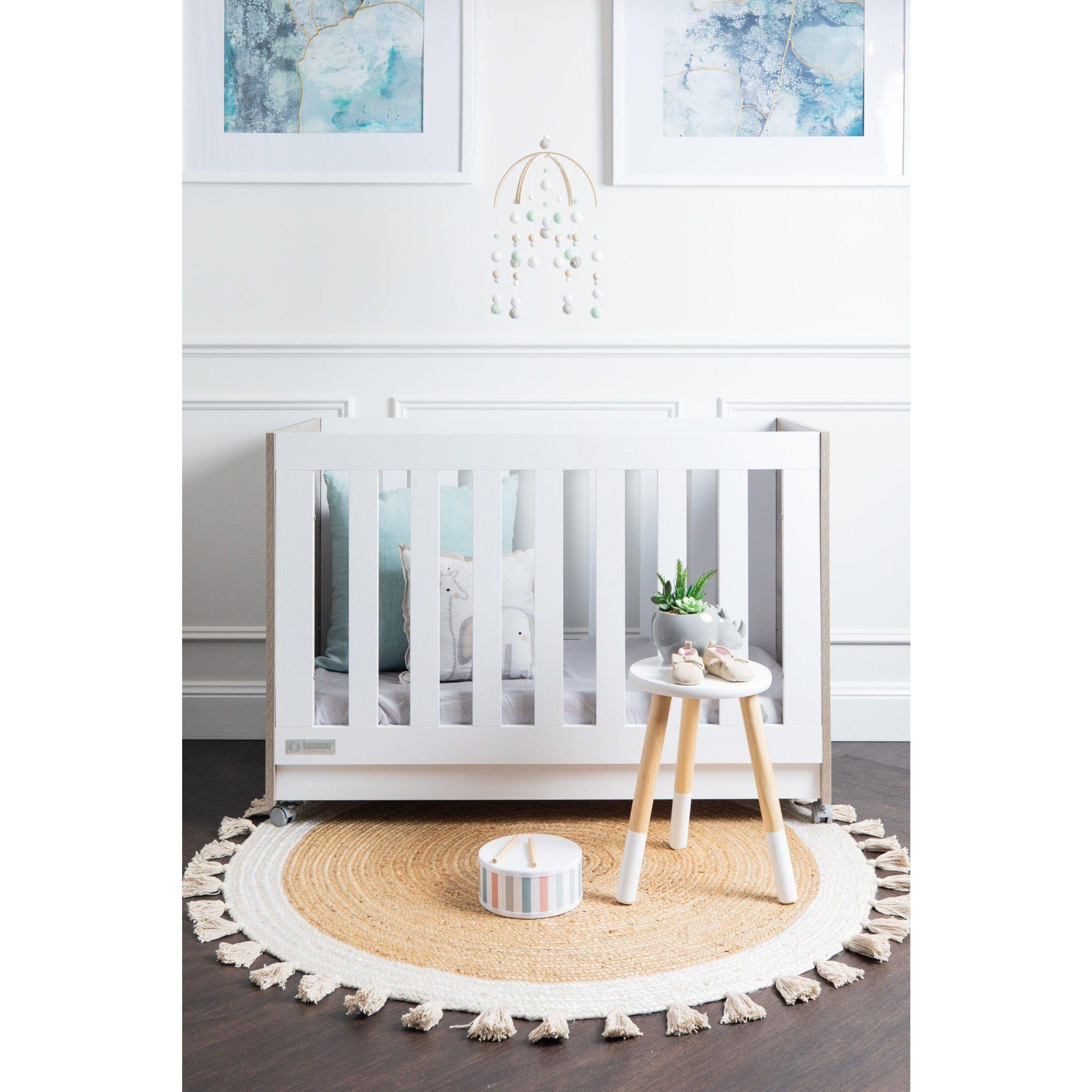 tasman essentials eden cot and mattress in baby nursery