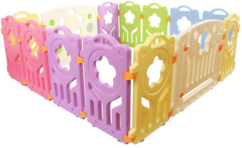 baby playpen kids toddler plastic 14 panel interactive safety gate divider lock
