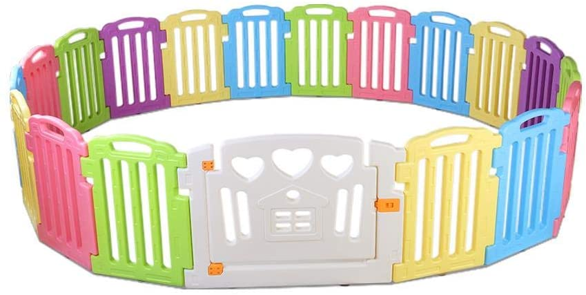 cuddly baby 19 panel plastic baby playpen with interactive safety gate for kids toddler