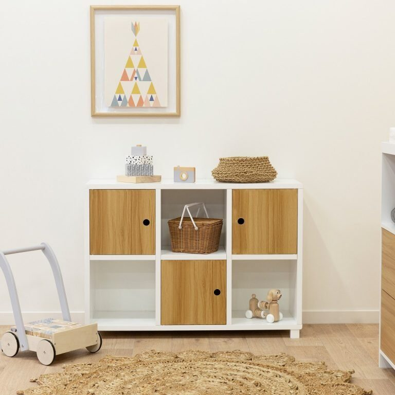 nursery storage with wooden drawers